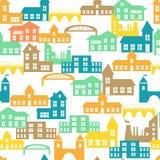 Teste padrão sem emenda com casas Ilustração do vetor Imagem de Stock Royalty Free