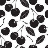 Teste padrão sem emenda com cereja Fundo preto e branco Imagens de Stock Royalty Free