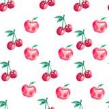 Teste padrão sem emenda com cerejas e maçãs fotografia de stock royalty free
