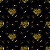 Teste padrão sem emenda com chaves e coração que consiste nas engrenagens Dourado em um fundo preto Vetor ilustração stock