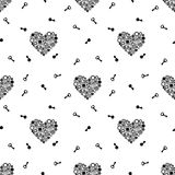 Teste padrão sem emenda com chaves e coração que consiste nas engrenagens Preto em um fundo branco Vetor ilustração royalty free