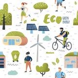 Teste padrão sem emenda com cidade verde Conservação ambiental Tecnologias futuras da cidade de Eco para a preservação do planeta Fotografia de Stock Royalty Free