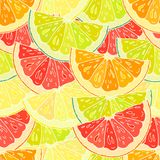 Teste padrão sem emenda com citrino cortado Foto de Stock Royalty Free