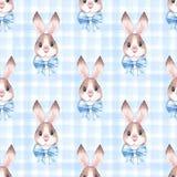 Teste padrão sem emenda com coelhos bonitos 2 Fotos de Stock