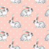 Teste padrão sem emenda com coelhos brancos 5 Fotos de Stock Royalty Free
