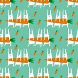 Teste padrão sem emenda com coelhos e cenouras Foto de Stock