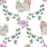 Teste padrão sem emenda com coelhos e rosas Fotografia de Stock Royalty Free