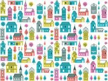 Teste padrão sem emenda com construções e as árvores diferentes Fundo urbano retro com casas, lojas e igrejas Foto de Stock Royalty Free