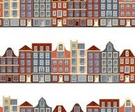 Teste padrão sem emenda com construções históricas velhas de Amsterdão Ilustração lisa do vetor do estilo Fotografia de Stock Royalty Free