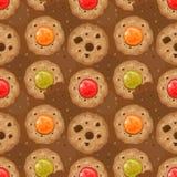 Teste padrão sem emenda com cookies e corações ilustração royalty free