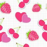 Teste padrão sem emenda com coração, cereja, morango. Ilustração Stock