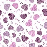 Teste padrão sem emenda com corações cor-de-rosa ilustração royalty free
