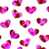 Teste padrão sem emenda com corações cor-de-rosa em um fundo branco ilustração do vetor
