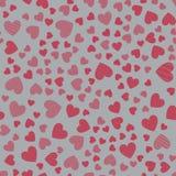 Teste padrão sem emenda com corações Corações cor-de-rosa Fotografia de Stock Royalty Free