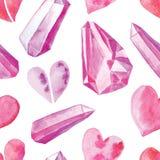 Teste padrão sem emenda com corações da aquarela ilustração royalty free