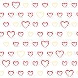 Teste padrão sem emenda com corações da garatuja ilustração royalty free