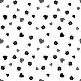 Teste padrão sem emenda com corações e as flores pretos e cinzentos em um branco Fotos de Stock