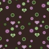 Teste padrão sem emenda com corações e botões Fotografia de Stock Royalty Free