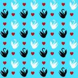 Teste padrão sem emenda com corações e cisnes Fotografia de Stock Royalty Free