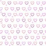 Teste padrão sem emenda com corações tirados lápis ilustração do vetor