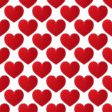 Teste padrão sem emenda com corações vermelhos Imagens de Stock