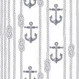 Teste padrão sem emenda com corda, nós e as âncoras marinhos em um branco ilustração royalty free