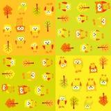 Teste padrão sem emenda com corujas e árvores nos quadrados Fotografia de Stock Royalty Free