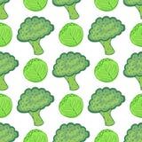 Teste padrão sem emenda com couve e brócolis Ilustração do vetor com mistura vegetal saudável tirada mão Aperfeiçoe empacotando,  Foto de Stock