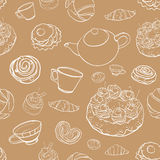 Teste padrão sem emenda com cozimento, pastelarias do contorno do vetor, bolos, te Fotografia de Stock Royalty Free