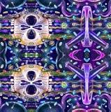 Teste padrão sem emenda com crânios Crânio mexicano colorido bonito Ilustração ilustração do vetor