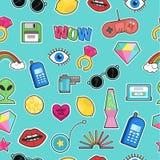 Teste padrão sem emenda com crachás do remendo da forma com elementos no estilo cômico dos desenhos animados 80s-90s Fundo do vet Fotografia de Stock