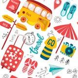 Teste padrão sem emenda com curso e lazer no estilo dos desenhos animados Planejando umas férias, uma aventura ou uma viagem de n ilustração royalty free