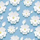 Teste padrão sem emenda com 3d branco sakura Fotos de Stock Royalty Free