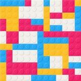 Teste padrão sem emenda com detalhes, as peças ou partes plásticas da construção Contexto com os tijolos de bloqueio coloridos do ilustração royalty free