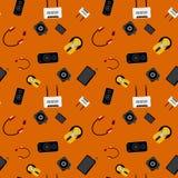Teste padrão sem emenda com dispositivos eletrónicos multicoloridos Imagem de Stock Royalty Free