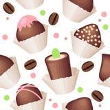 Teste padrão sem emenda com doces do chocolate Foto de Stock Royalty Free