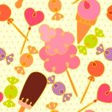 Teste padrão sem emenda com doces dos desenhos animados Cores brilhantes ilustração stock