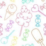 Teste padrão sem emenda com doces dos desenhos animados Cores brilhantes ilustração royalty free