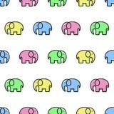 Teste padrão sem emenda com elefantes coloridos ilustração do vetor