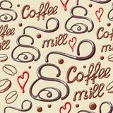 Teste padrão sem emenda com elementos do café Imagens de Stock