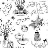Teste padrão sem emenda com elementos do Natal Imagens de Stock Royalty Free