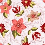 Teste padrão sem emenda com elementos românticos da flor ilustração do vetor