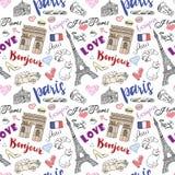 Teste padrão sem emenda com elementos tirados mão do esboço - arco de Paris do triumf da torre Eiffel, artigos da forma Garatuja  Fotos de Stock