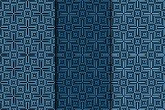 Teste padrão sem emenda com elementos transversais Escuro - fundos azuis ajustados Foto de Stock