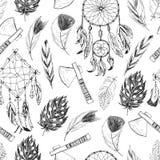 Teste padrão sem emenda com elementos tribais, indianos ilustração do vetor