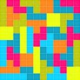 Teste padrão sem emenda com enigma colorido dos blocos Foto de Stock