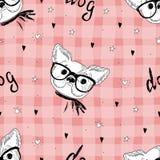 Teste padrão sem emenda com esboço preto e branco do vetor de um cão Ilustração do vetor ilustração stock