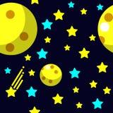 Teste padrão sem emenda com espaço, cometa, estrelas e lua Fotos de Stock Royalty Free