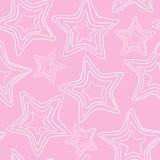 Teste padrão sem emenda com a estrela tirada mão estrelas brancas Cinco-aguçados em um fundo cor-de-rosa ilustração stock