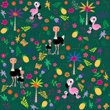 Teste padrão sem emenda com família de pássaros Flamingo e avestruz Flawers, folhas, palmtrees Ilustração do vetor no estilo dos  ilustração stock